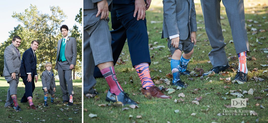 team socks worn by groomsmen at wedding