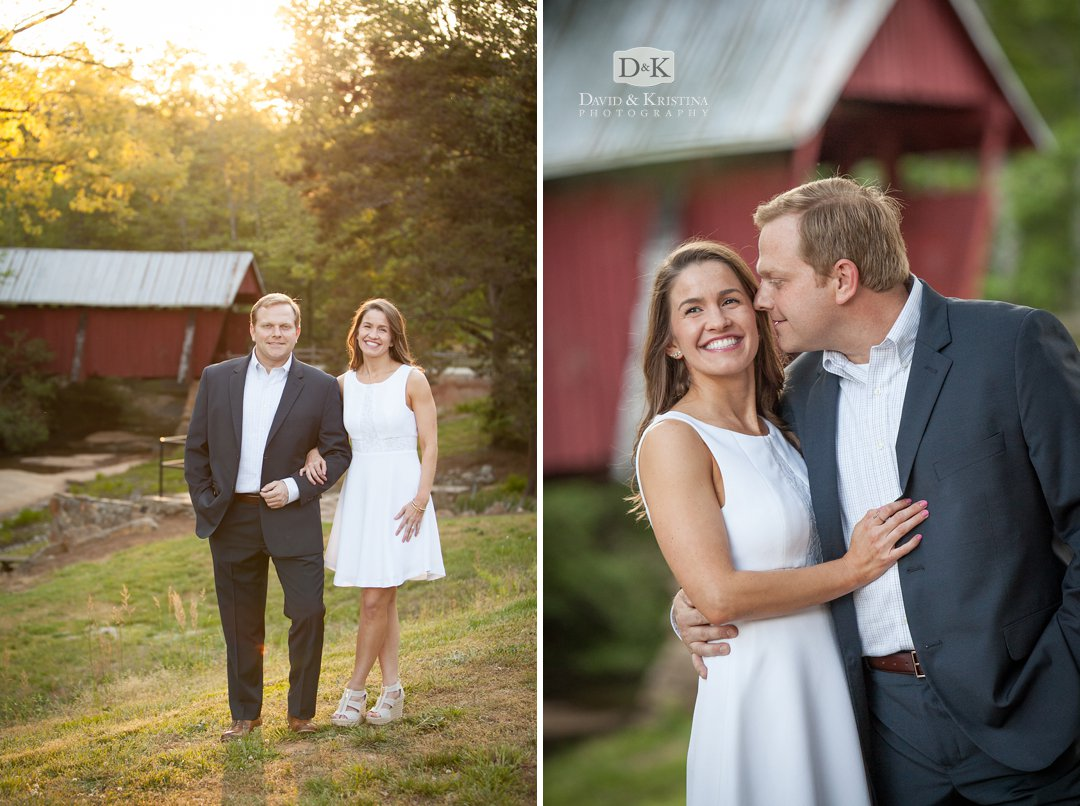 Engagement photo with Campbell's covered bridge in the background