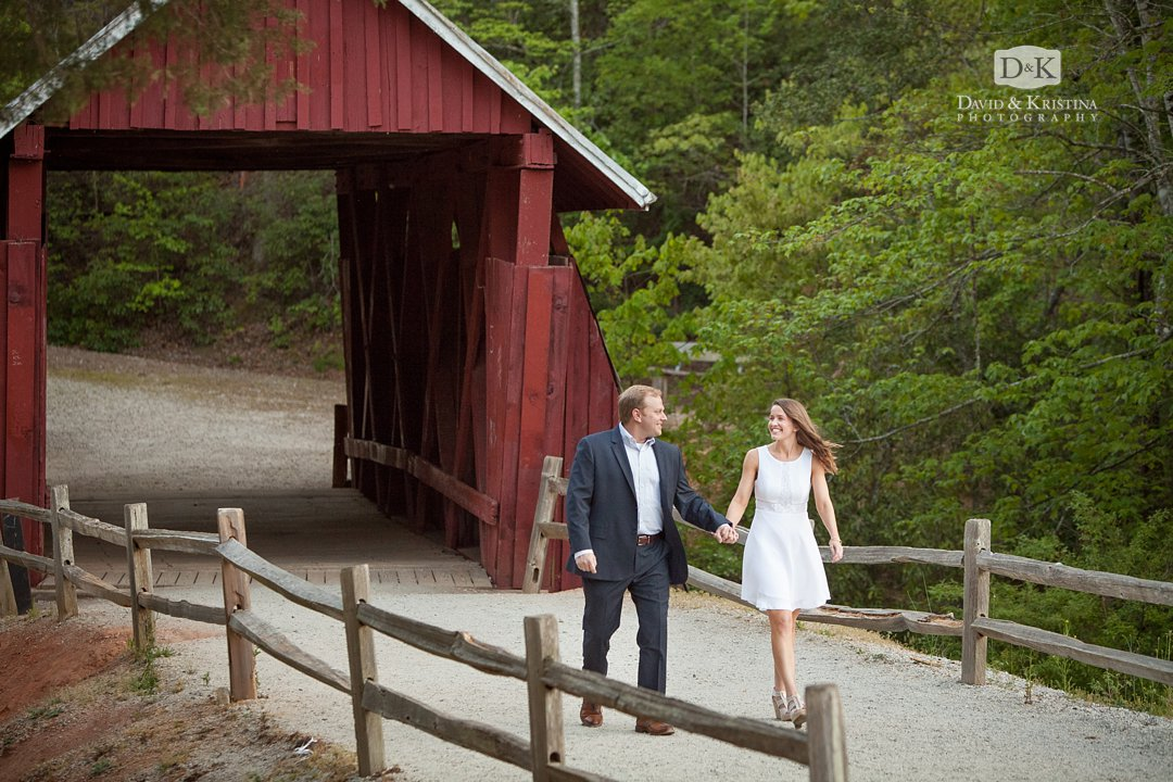 Trevor and Kim walking through Campbell's covered bridge