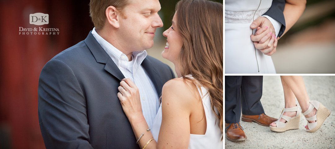 close ups of feet and ring and hands engagement photo