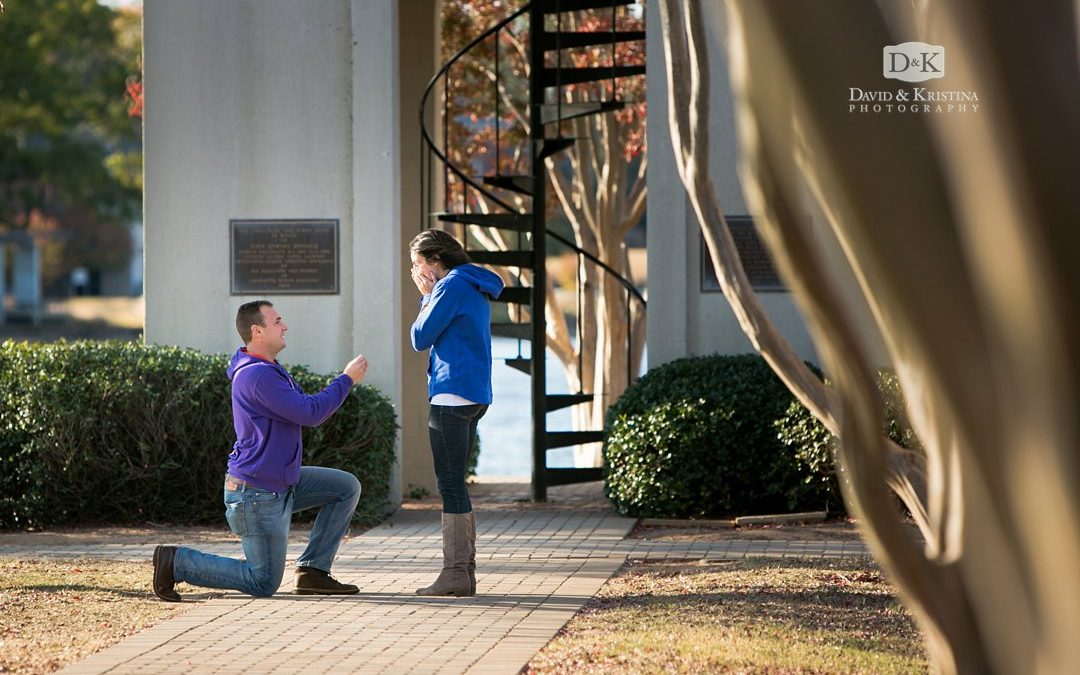 Surprise Proposal at Furman Belltower | Miller and Brittany