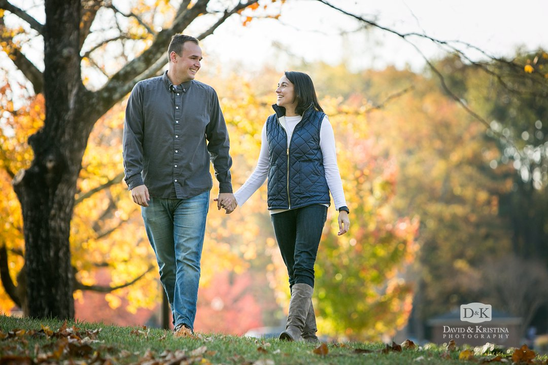 fall leaves at Furman for engagement session