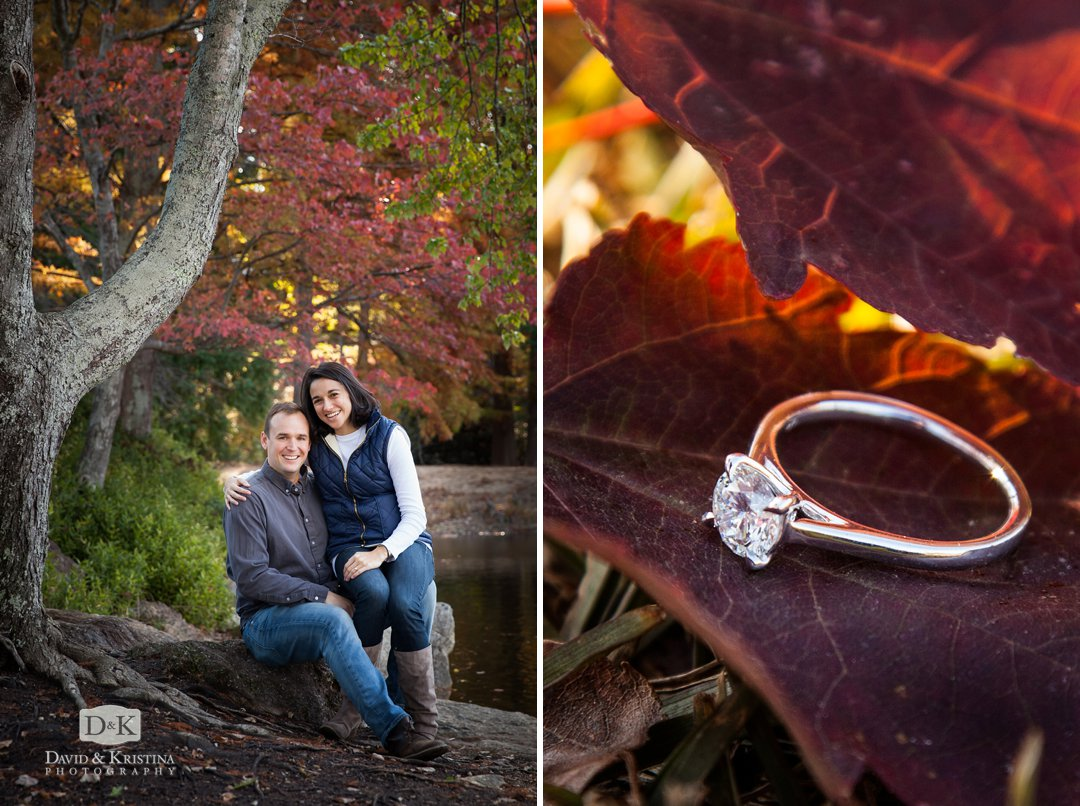 Furman Asian garden engagement photos and diamond ring