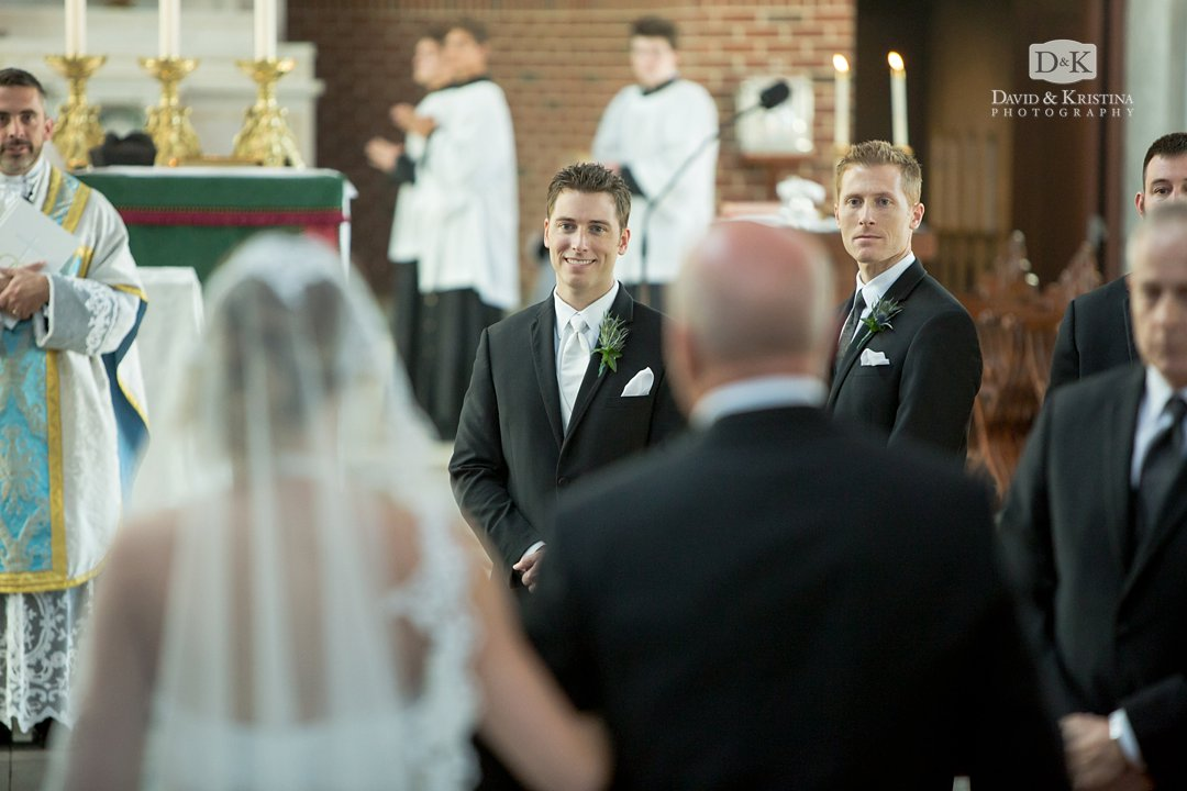 Ryan watching Chelsea walking down the aisle