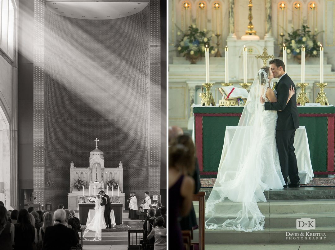first kiss during catholic mass wedding at Prince of Peace