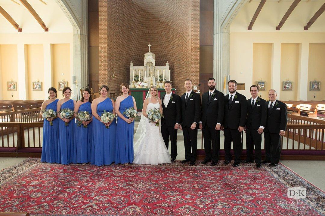 wedding photo in sanctuary of Prince of Peace Catholic Church