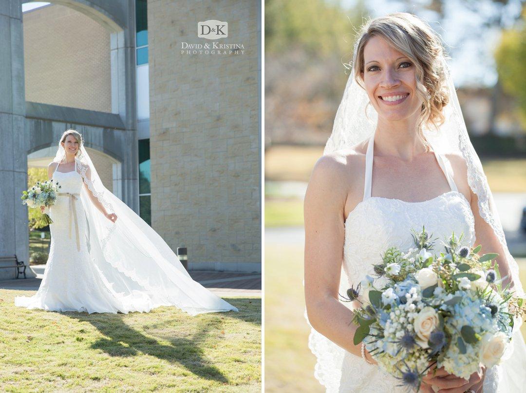 Chelsea wearing wedding dress and veil