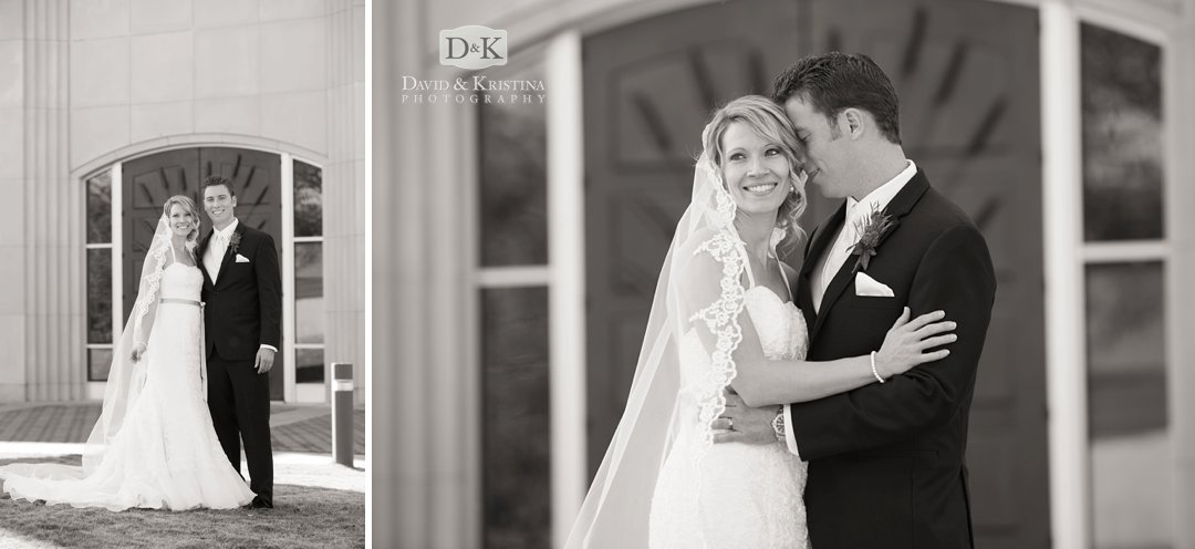 bride and groom in front of doors of Prince of Peace