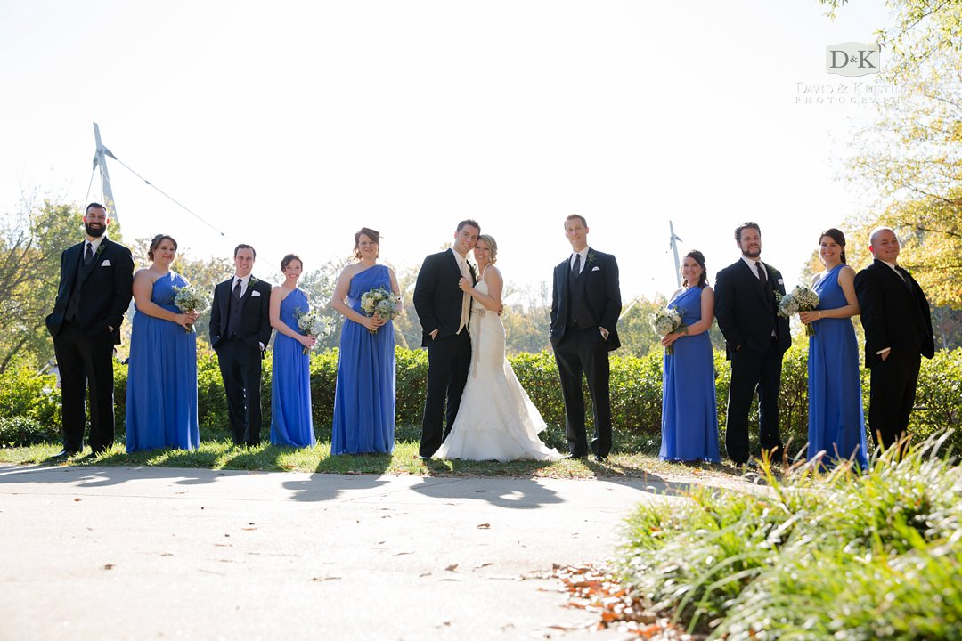 wedding party photo at Liberty Bridge