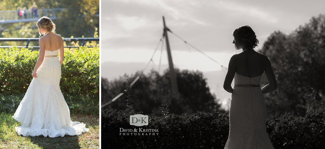 bridal portrait in Greenville at Liberty Bridge in Falls park
