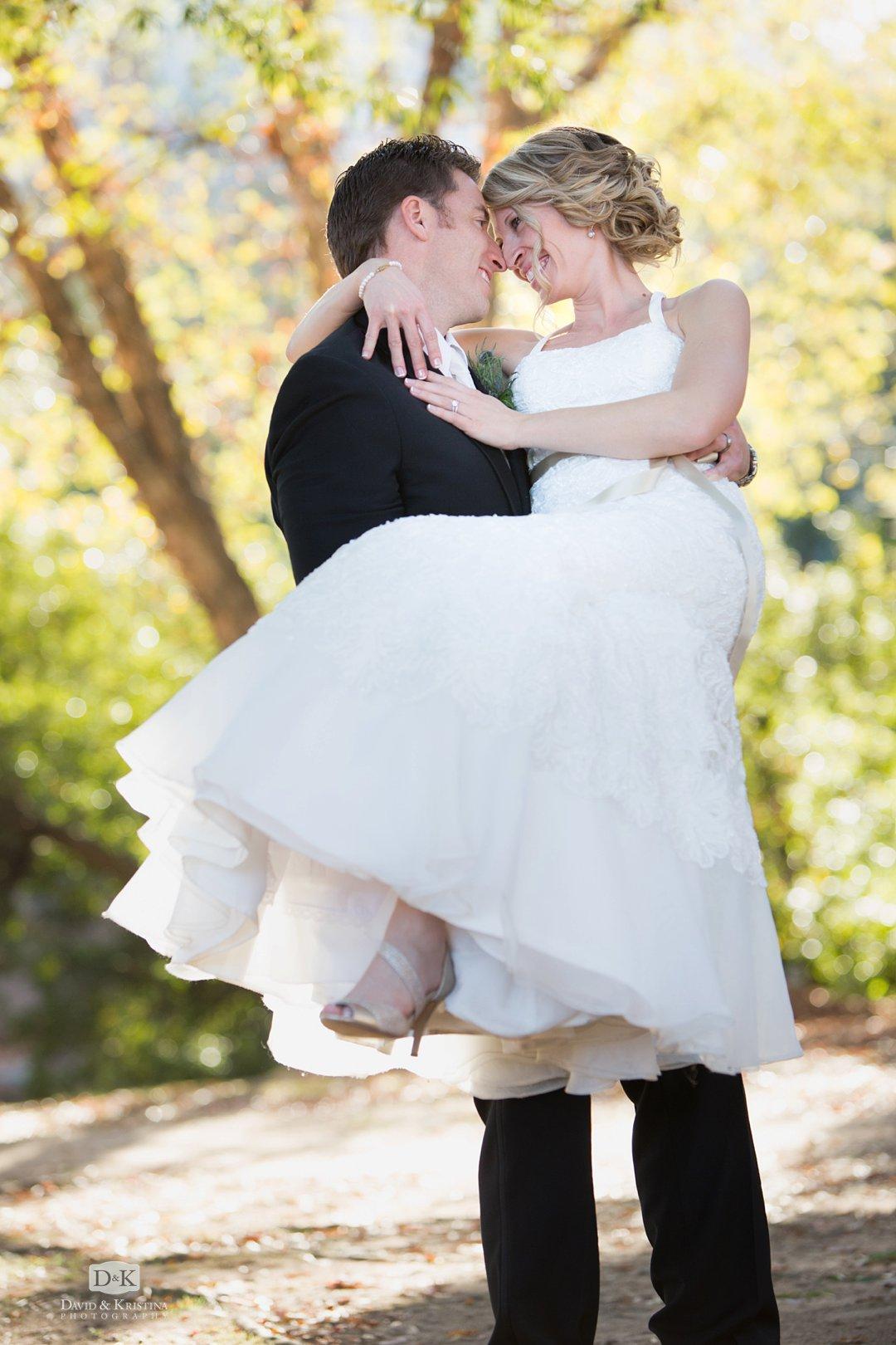 Bride and groom at Falls Park wedding photo