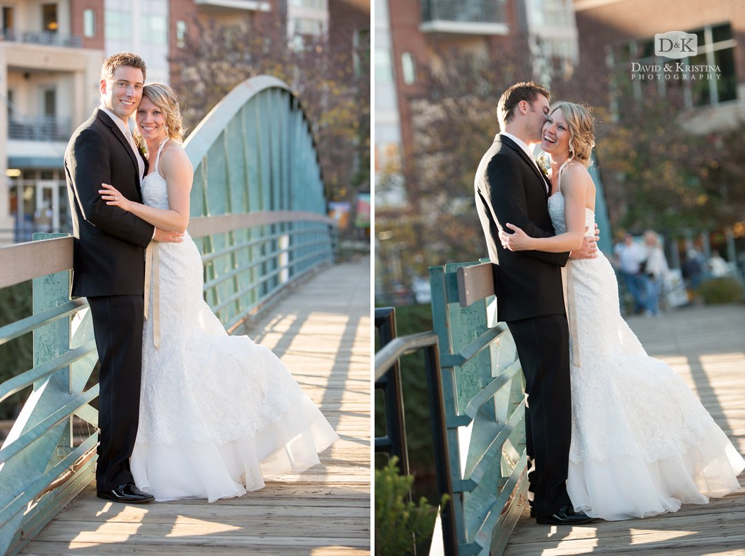 wedding photos on green bridge near Falls Park