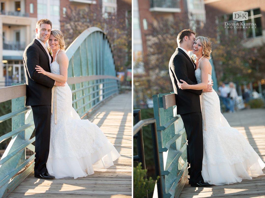 wedding photos on green bridge near Falls Park