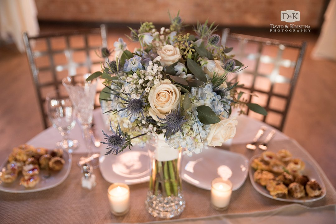 bouquet on sweetheart table at Larkins Cabaret Room