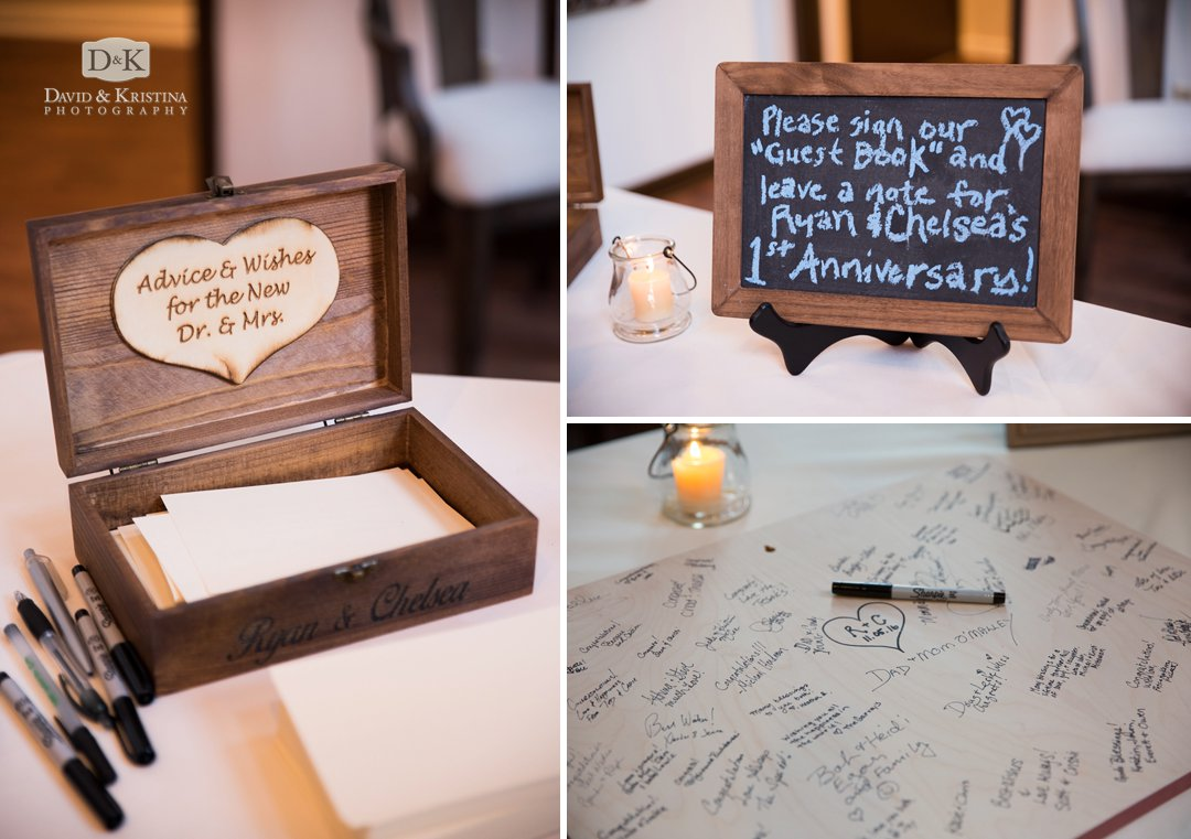 leave messages for bride and groom in wooden box