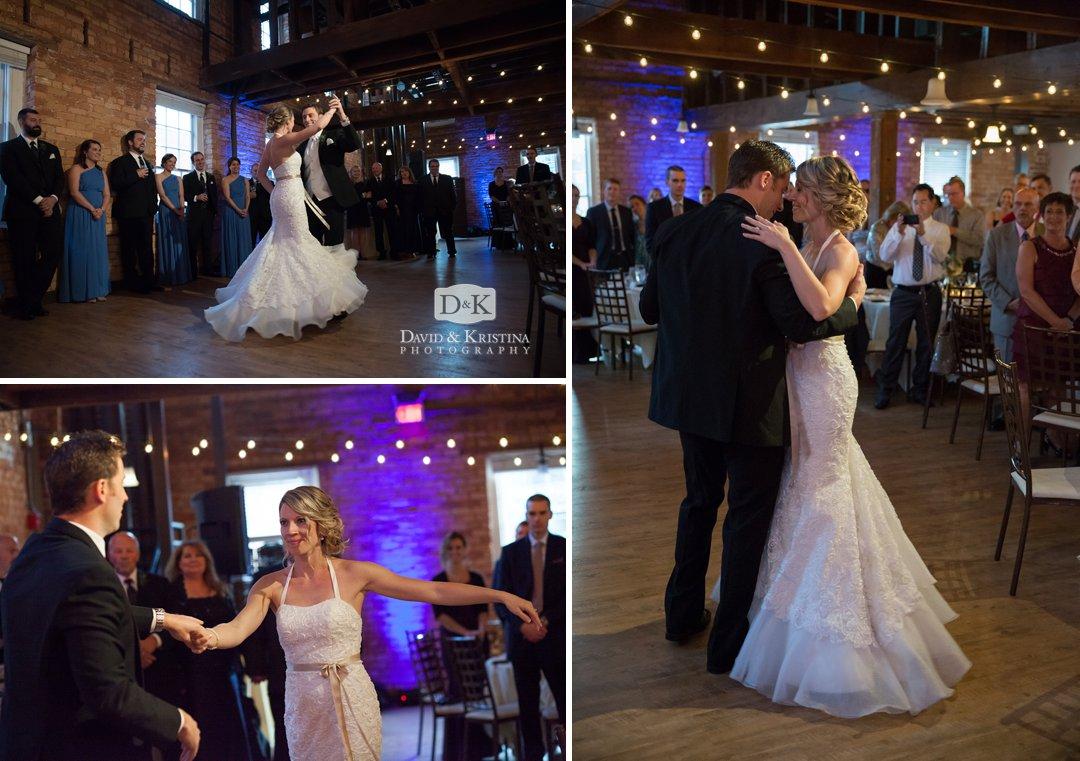 first dance at Larkins wedding reception in Cabaret room