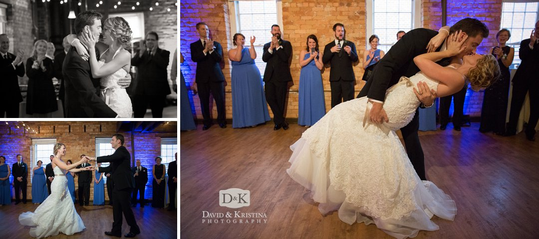 a dip and kiss during first dance