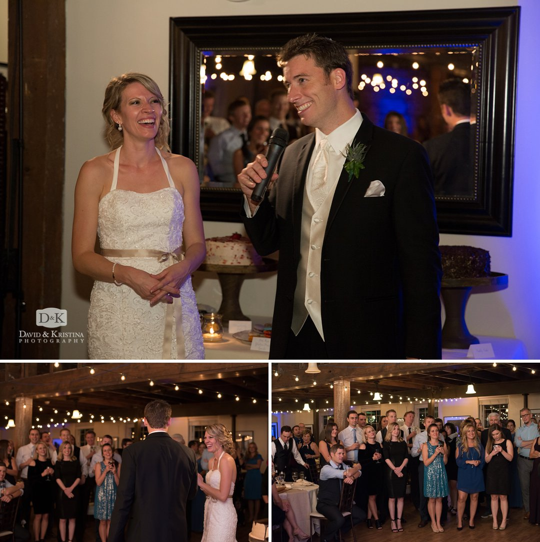 bride and groom give toast