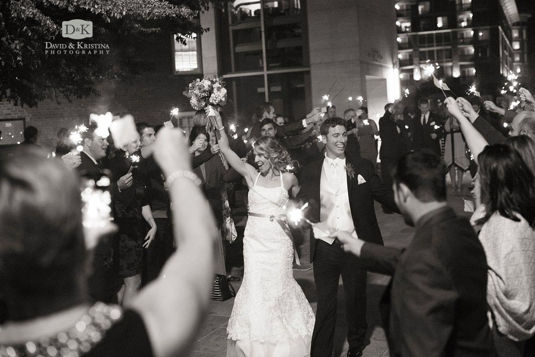 Sparkler exit next to Peace Center Larkins wedding