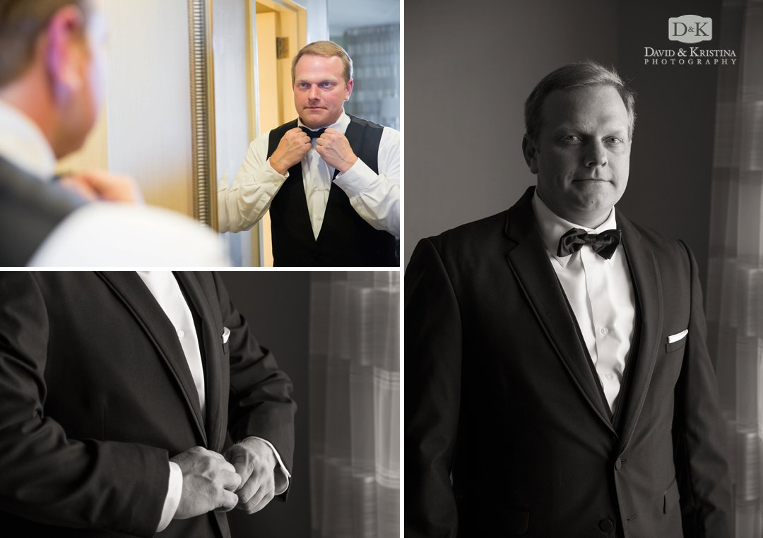 groom getting ready at Marriott Greenville