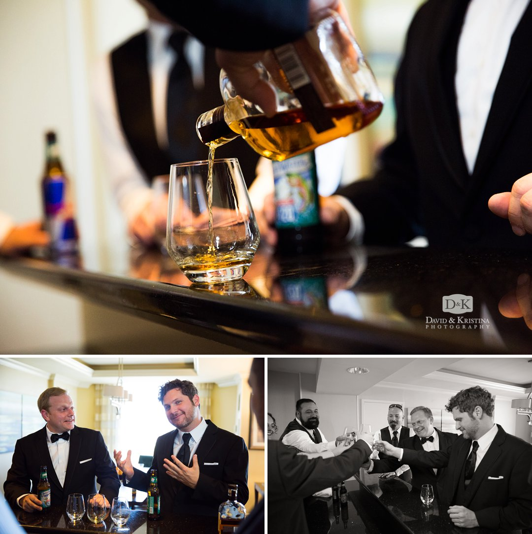 guys drinking whisky before wedding