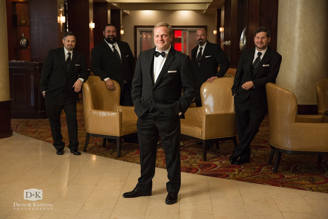 Trevor with groomsmen at hotel