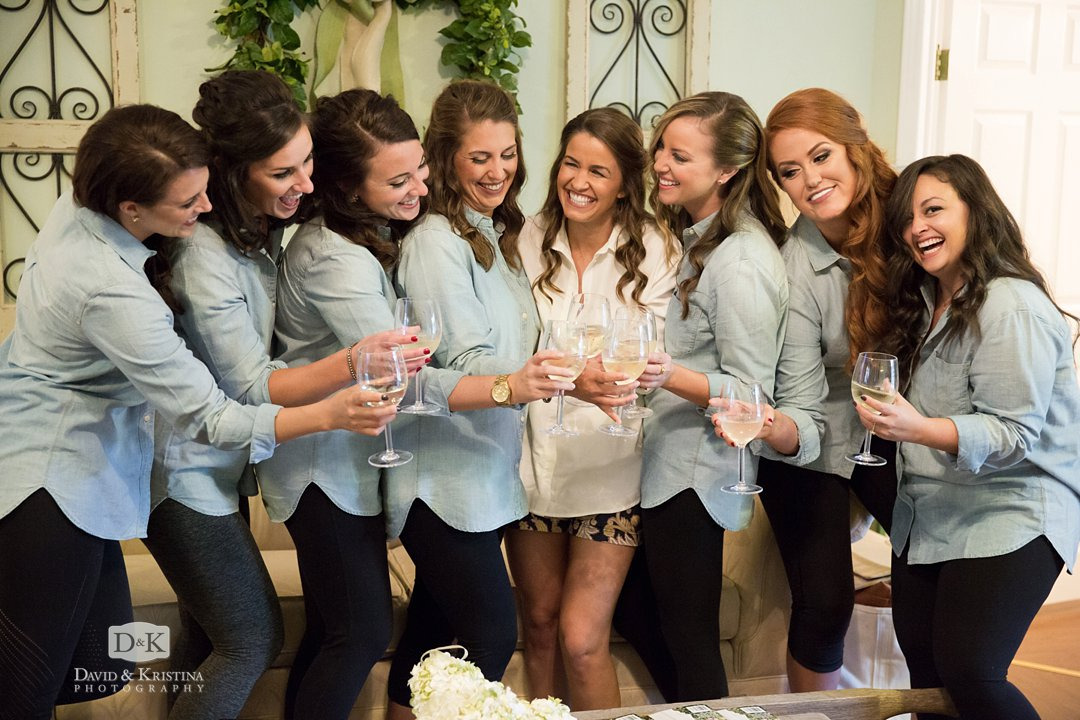 champaign toast with bridesmaids before wedding