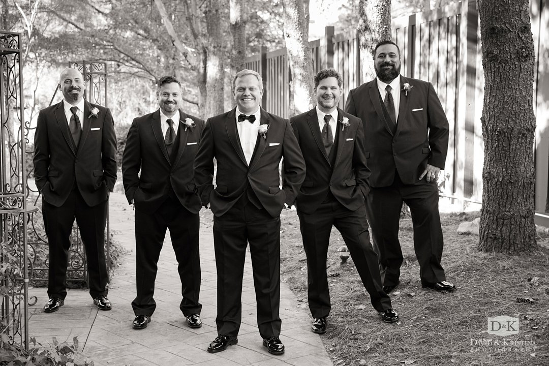 groom and groomsmen at Twigs Tempietto