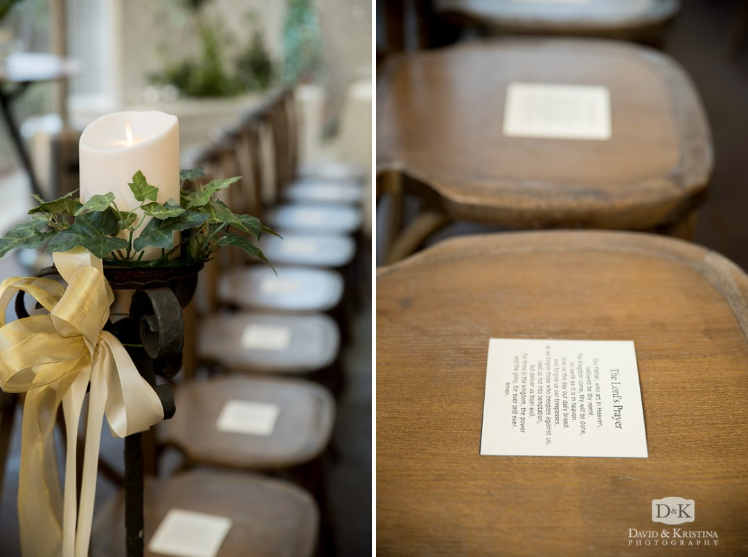 wooden chairs at Twigs Tempietto wedding venue