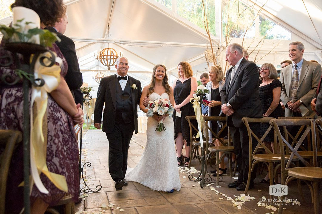 Bride's dad walks her down the aisle