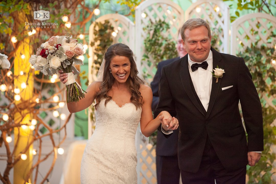 Twigs wedding bride and groom walking up aisle