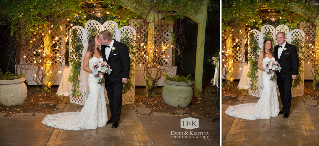 wedding photos in tent at Twigs Tempietto