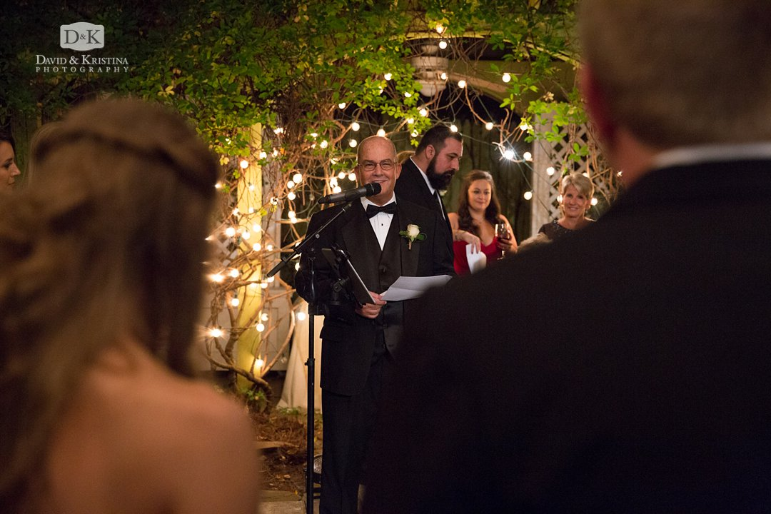 Father of bride gives toast