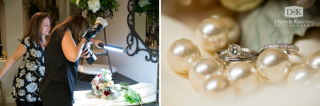 behind the scenes of photographing rings at wedding