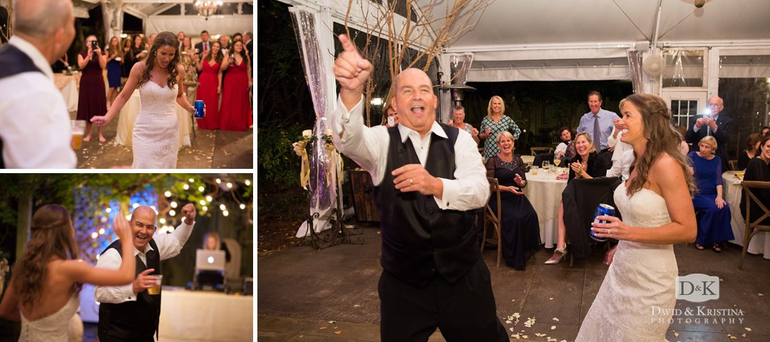 bride and dad dance breaking it down