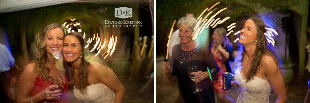 streaking lights wedding reception dancing photos
