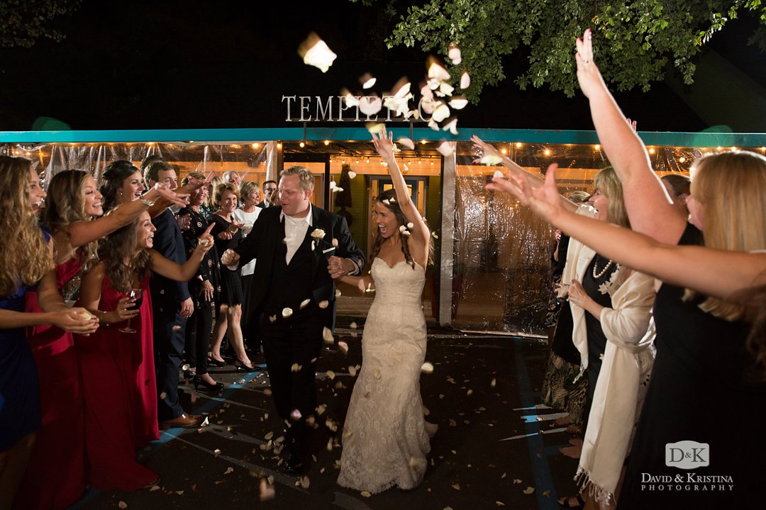 bride and groom flower petal exit at Twigs Tempietto wedding