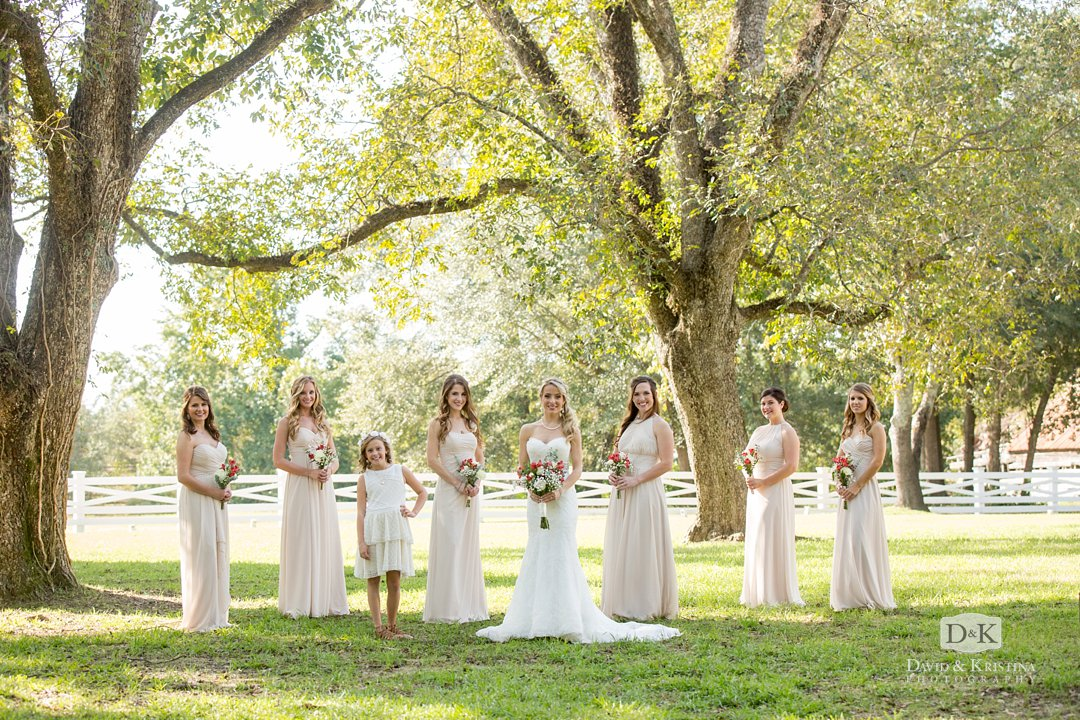 bridesmaids under oak tree at Wildberry Farm