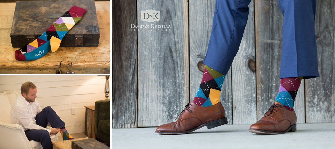 groom's colorful socks