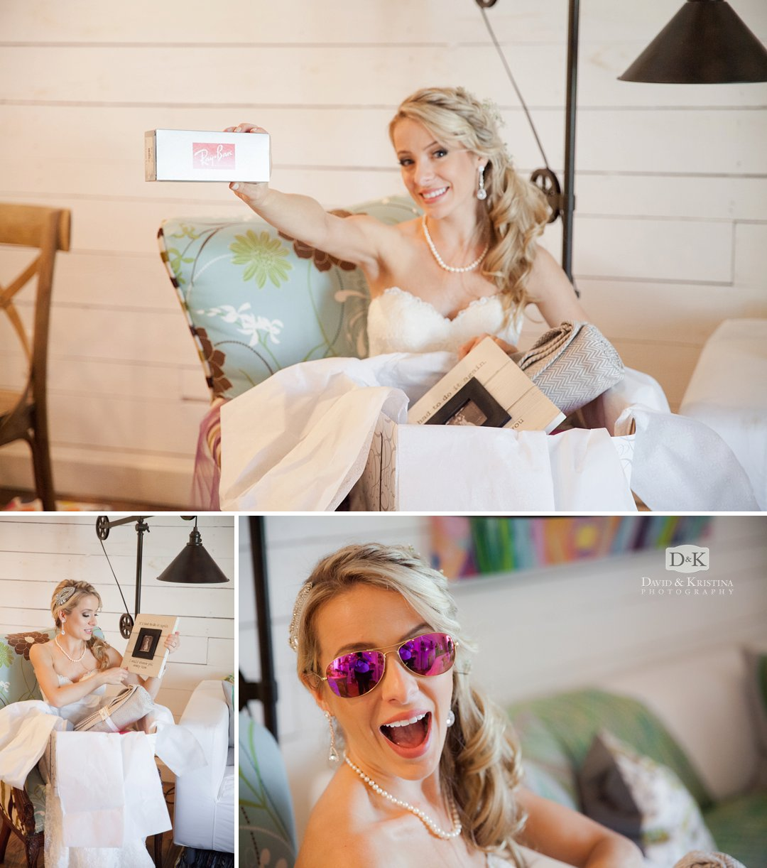 bride opening up gift from groom