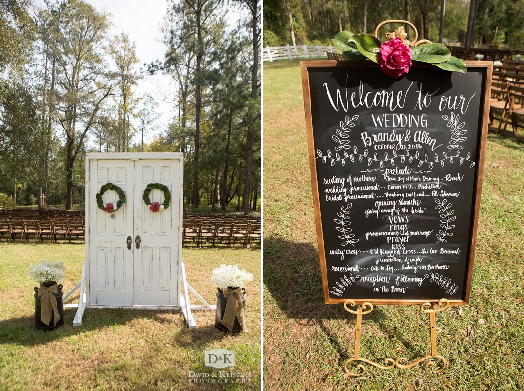 chalkboard with wedding party names at wedding ceremony