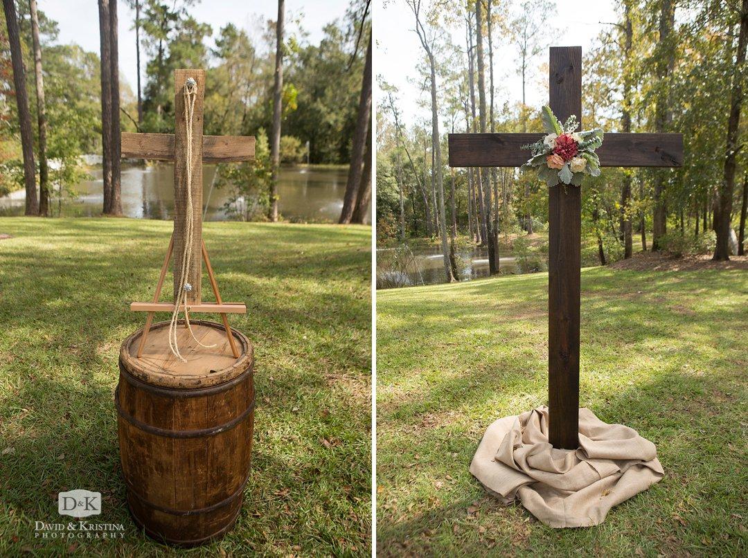 cross at altar of wedding ceremony