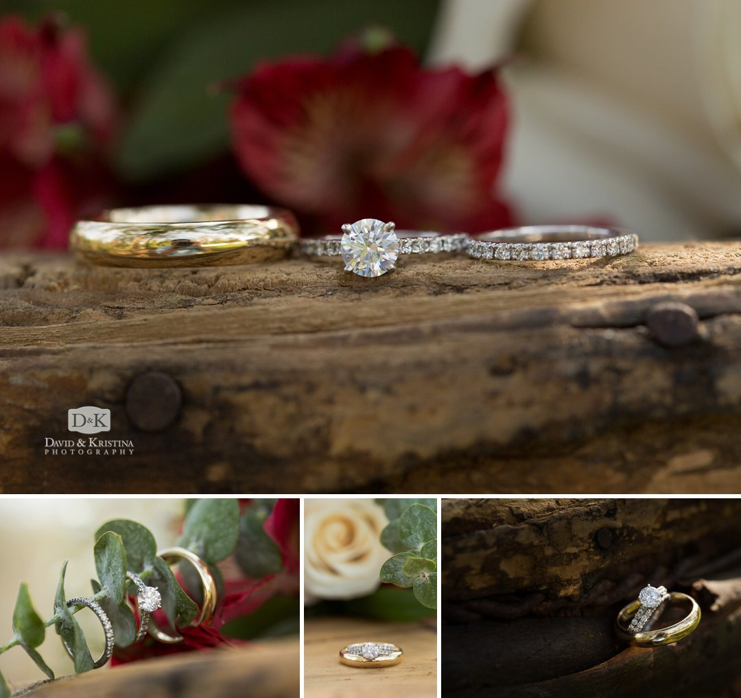 rings on old wooden barrel