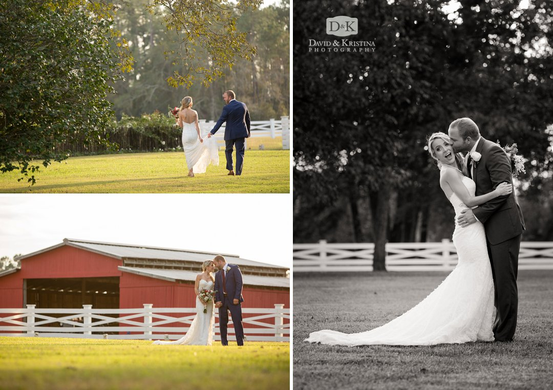 bride and groom at Wildberry Farm