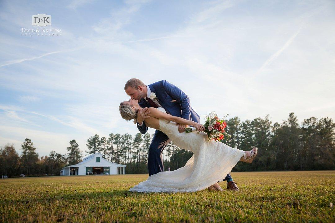 dip kiss Wildberry Farm wedding