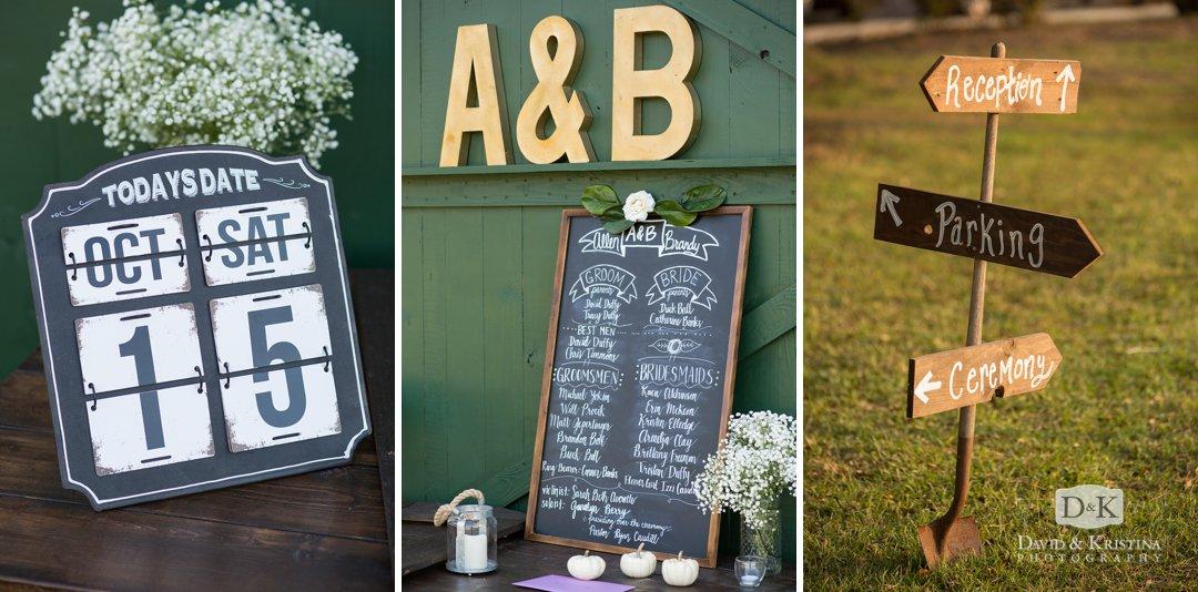 chalkboard and date calendar at wedding reception