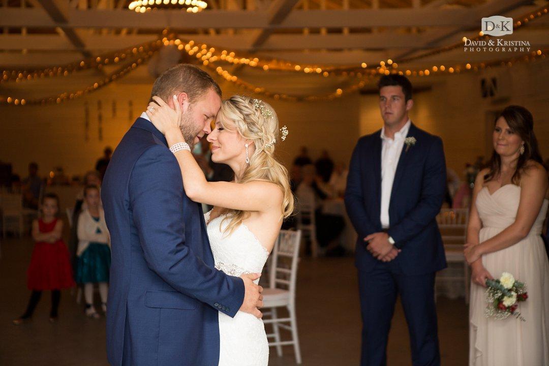 barn wedding reception first dance