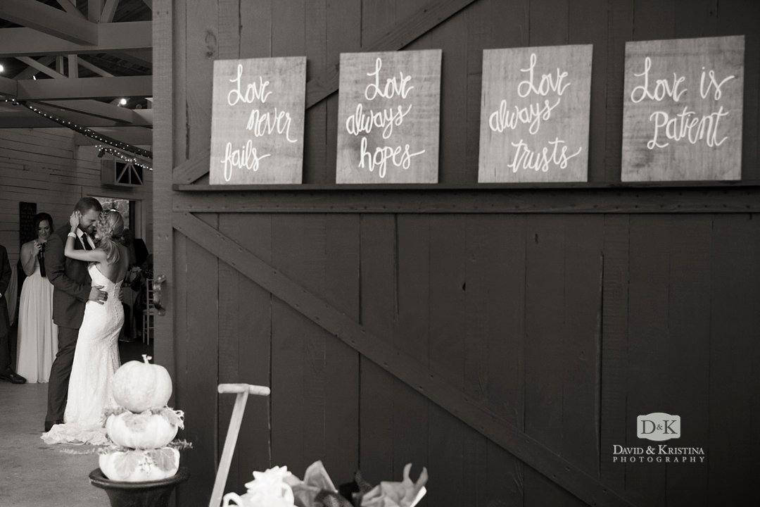 love never fails signs at wedding reception