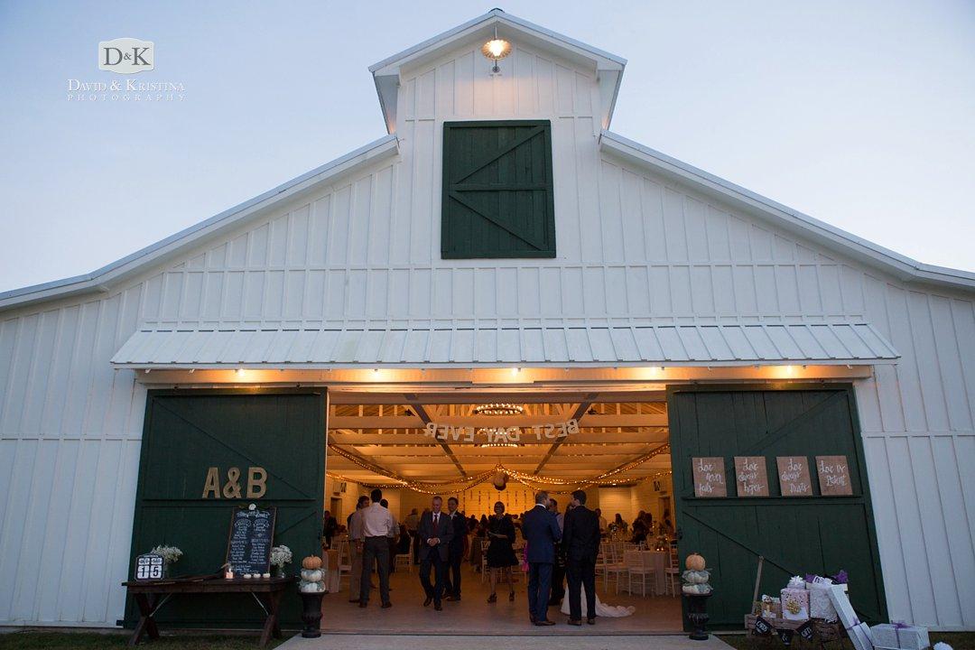 wedding reception at barn at Wildberry Farm