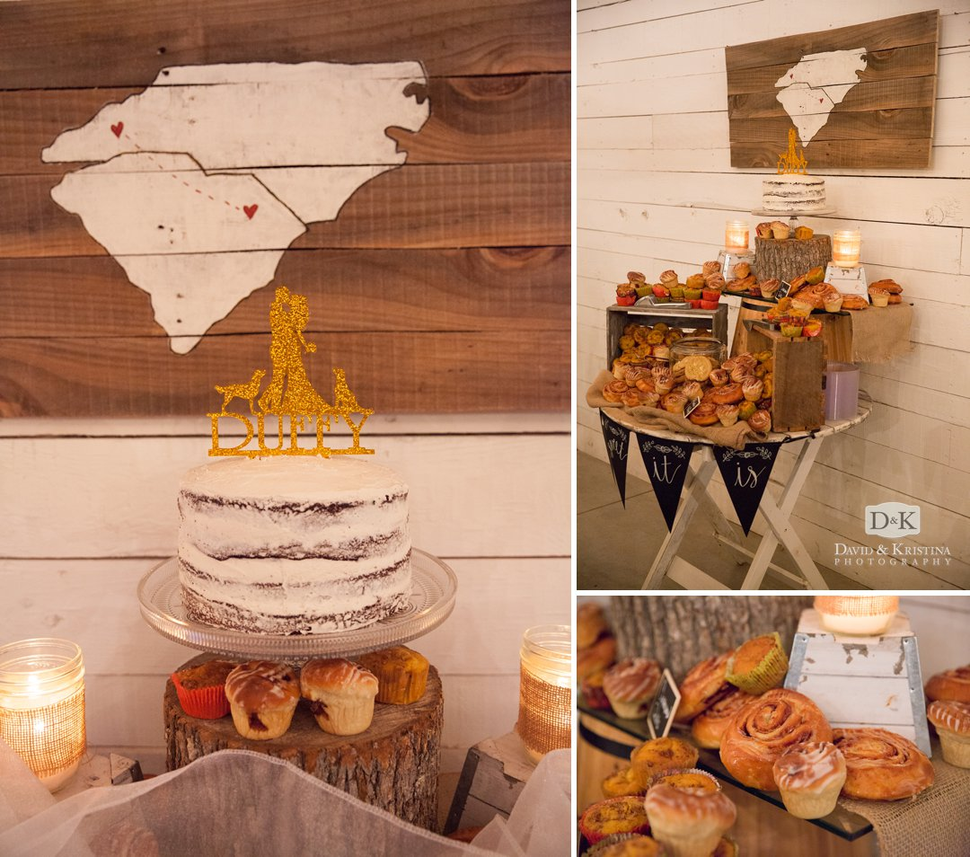 wedding cake with map hanging on the wall